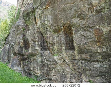 Roman Bridge Foundations In Pont Saint Martin