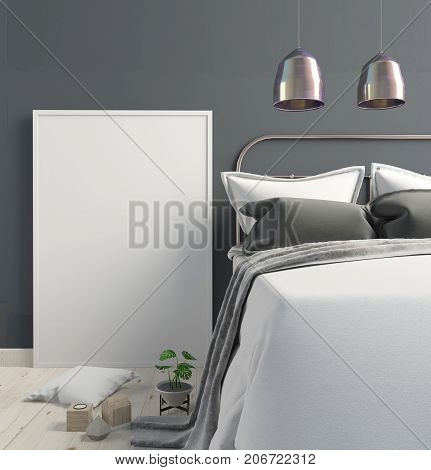 Mock up poster in bedroom interior. Bedroom Scandinavian style. 3d illustration