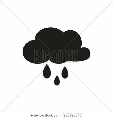 Simple icon of cloud with rain. Rainy day, drizzle, precipitation. Weathercolored concept. Can be used for topics like weather, climate, forecast