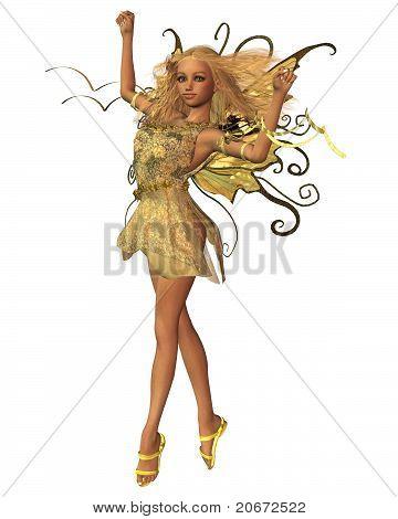 Pretty blonde fairy in summer sunshine, 3d digitally rendered illustration poster