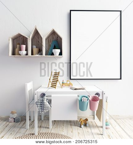 Mock up poster in interior of the child. playroom. modern style. 3d illustration