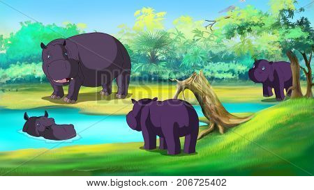 Group of Hippopotamuses near the River in a summer day. Digital painting cartoon style full color illustration.