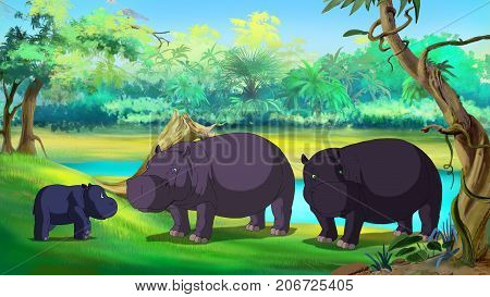 Family of hippos near the river. Mom Dad and little calf. Digital painting cartoon style full color illustration.