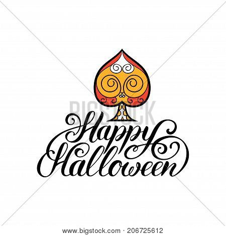 Spade vector illustration with Happy Halloween lettering. All Saints Eve background. Festive card design