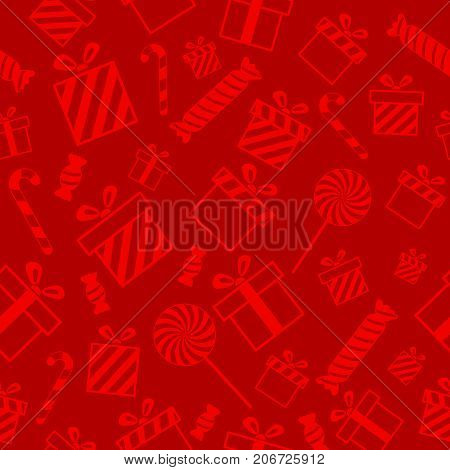 Christmas vector seamless pattern with candies and gift boxes on red background. New year vector design. Wrapping paper for Christmas gifts and gift boxes