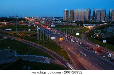 Departure from the city on the highway Enthusiasts. Moscow.