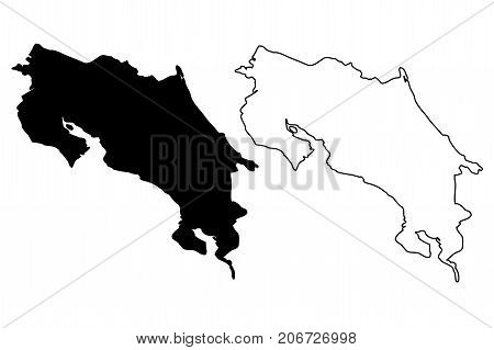 Costa Rica map vector illustration , scribble sketch Costa Rica