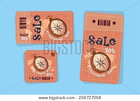 Columbus Day Seasonal Holiday Sale Tags Shopping Discount Icons America Discover Greeting Card Flat Vector Illustration