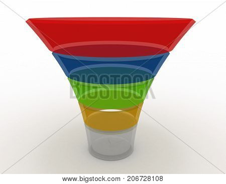 Layered Funnel Chart Concept . 3D Rendered Illustration