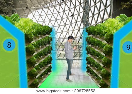 smart agriculture in futuristic conceptssmart farmer monitor keep tracking data about water level humidity ph ic carbon dioxide air and water temperature in the urban overtical and indoor farm