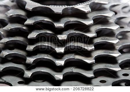 Bicycle titanium cassette spare parts - stock image