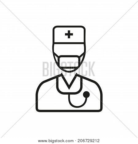 Simple icon of doctor wearing facemask. Epidemic, surgeon, hygiene. Medical equipment concept. Can be used for topics like medicine, hospital, medical staff