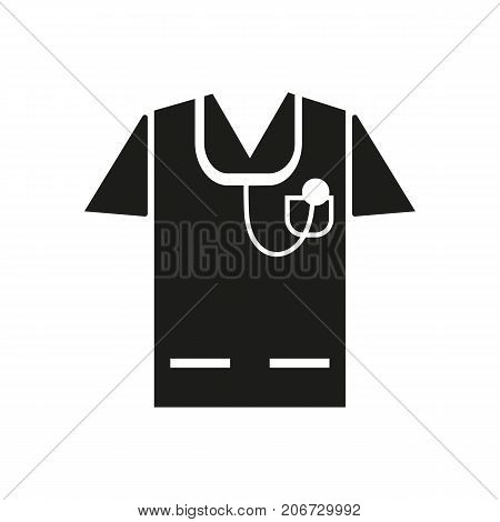 Simple icon of medical workwear with stethoscope. General practitioner, doctor, uniform. Medical equipment concept. Can be used for topics like medicine, hospital, health