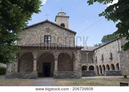 The medieval church (pieve) of San Giovanni Battista at Carpegna (Montefeltro Pesaro Urbino Marches Italy)