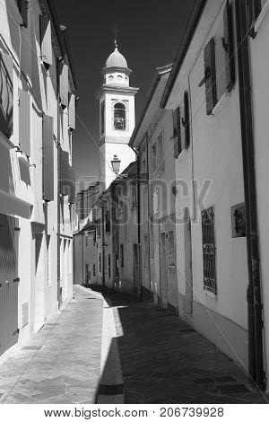 Sogliano al Rubicone (Forli Cesena Emilia Romagna Italy) historic town. Black and white