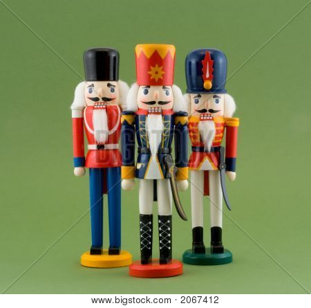 Nutcracker Soldiers Isolated On Green