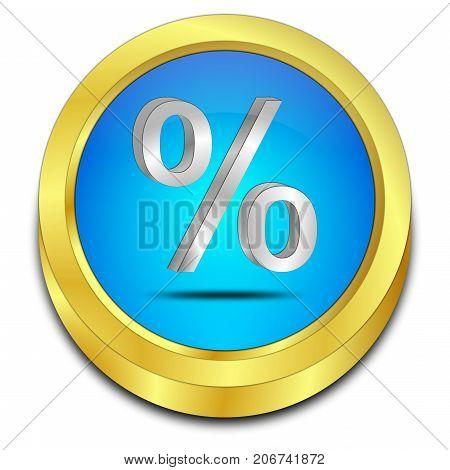 golden glossy blue Discount button - 3D illustration