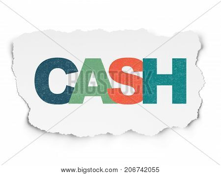 Money concept: Painted multicolor text Cash on Torn Paper background