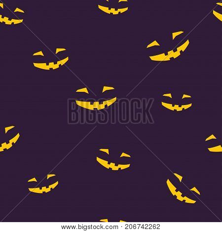 Seamless Pattern of Grinning Scary Halloween Face Face for Jack-o-Lantern Illustration
