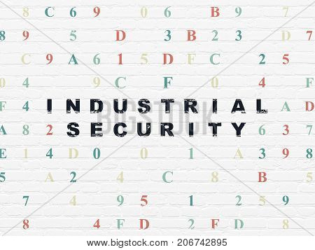 Safety concept: Painted black text Industrial Security on White Brick wall background with Hexadecimal Code