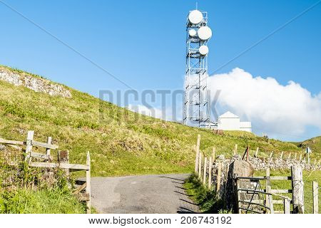 The United Kingdom still uses flat parabola antennas in rural areas, Scotland