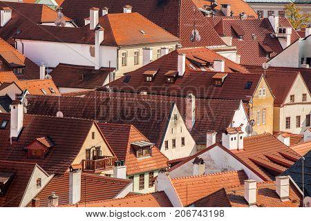 Roofs of Cesky Krumlov. South Bohemia - Czech Republic.