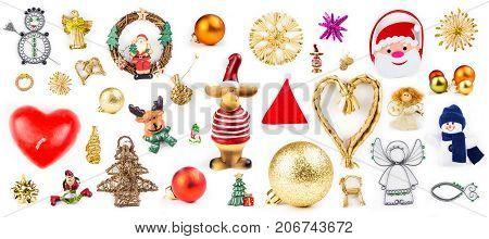 Isolated Christmas Decorations On White Background