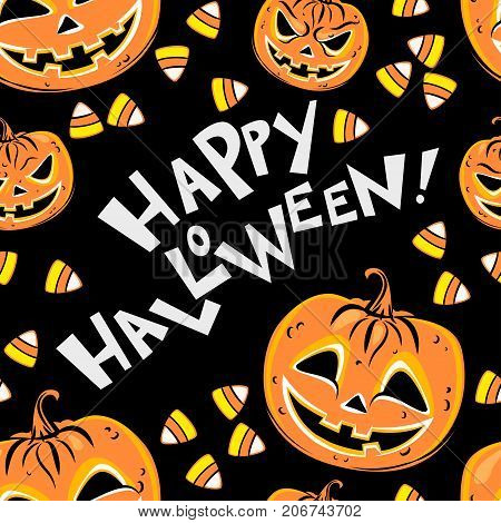 Seamless pattern with orange halloween pumpkins candies and text Happy Halloween on black background. Halloween design template for scrap-book paper textile print page fill. Vector