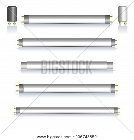 Set of different fluorescent lamps and starters with mirror reflection isolated on white background. Elements of design of electrical components vector illustration.