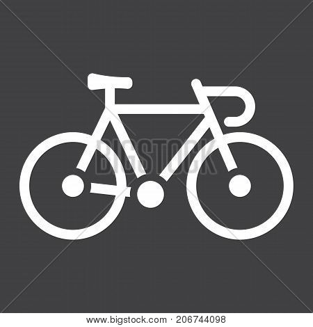 Bicycle glyph icon, transport and vehicle, bike sign vector graphics, a solid pattern on a black background, eps 10.