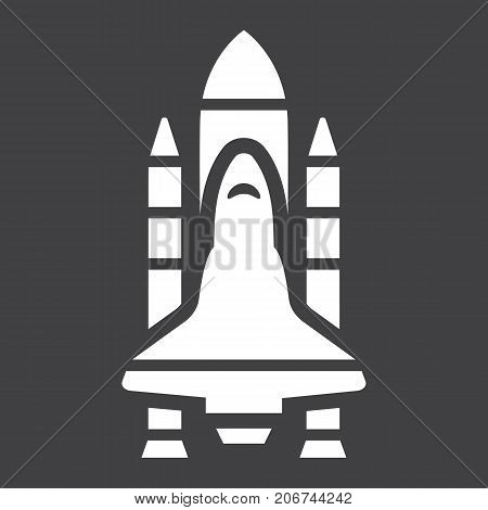 Space Shuttle glyph icon, transport and space vehicle, rocket sign vector graphics, a solid pattern on a black background, eps 10.