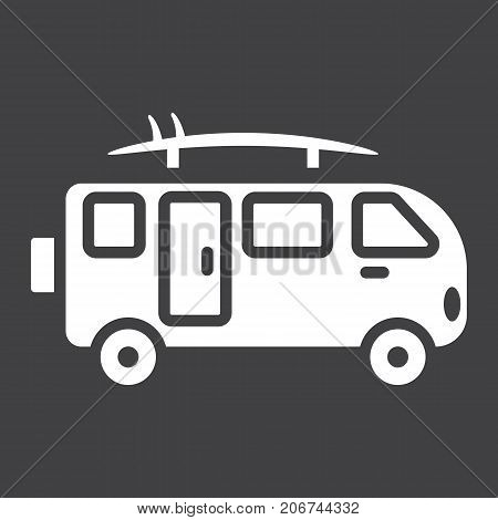 Surfer van glyph icon, transport and vehicle, camper bus sign vector graphics, a solid pattern on a black background, eps 10.