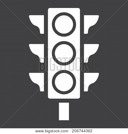 Traffic light glyph icon, stoplight and navigation, regulation sign vector graphics, a solid pattern on a black background, eps 10.