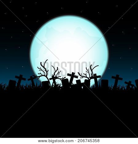 Cemetery on Halloween night . vector design for halloween day