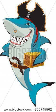 Vector illustration, funny white shark pirate, captain, holds a treasure chest.