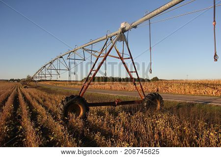 A center pivot irrigation in a field in rural Northern Michigan