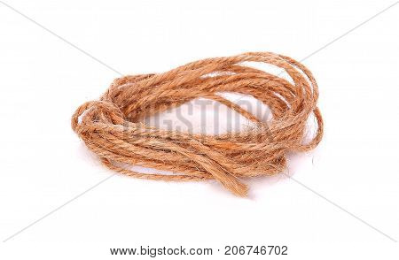 Rope isolated on white background  hemp, strand, wooden, clothespins