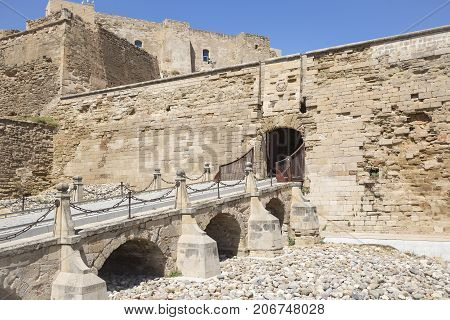 Drawbridge inside the fortress old Cathedral hill of Lleida city, Catalonia, Spain