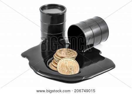 Oil is poured out of the barrel and full barrel of oil with golden coins. Isolated on white.