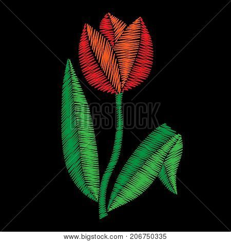 Embroidery stitches imitation tulip. Vector embroidery traditional folk tulip flower on black background. Embroidery flower.