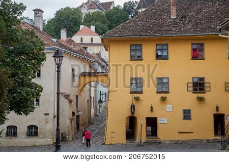 SIGHISOARA ROMANIA - SEPTEMBER 22 2017: Picture of the house where Vlad Tepes aka Vlad Dracul or Dracula was allegedly born in the 14th in Sighisoara castle in the center of Transylvania