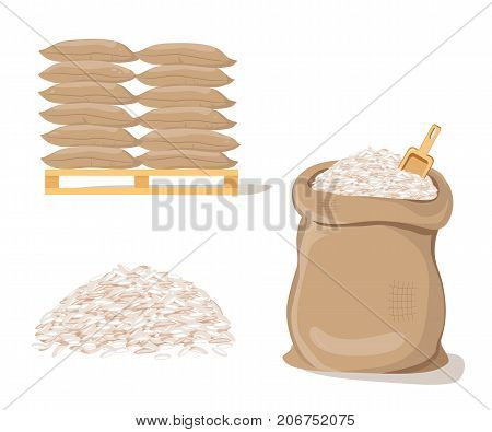 Bags on pallet. Sack with pile of  rice. Vector illustration flat design