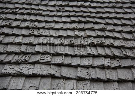 roof wood tiling texture background. antic wood tree roof tiles