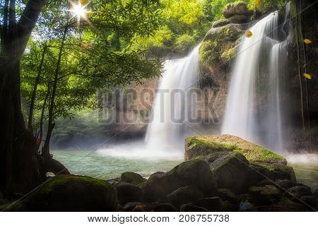 Huaw Suwat waterfall in Khao yai national park Thailand traval water fall mountain concept