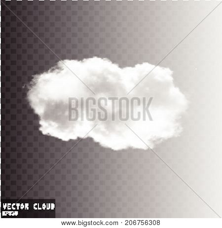Cloud vector shape illustration realistic white fluffy cloud isolated over transparent background