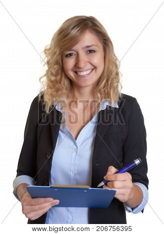 Laughing caucasian secretary with blue blazer and clipboard
