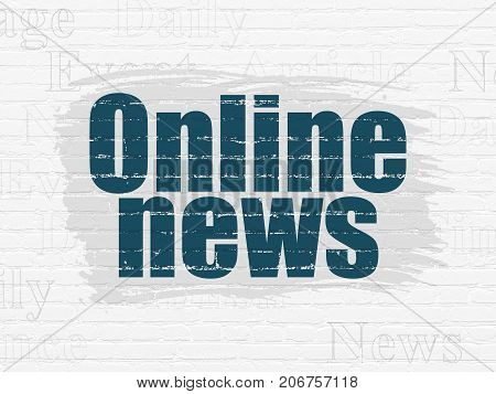 News concept: Painted blue text Online News on White Brick wall background with  Tag Cloud