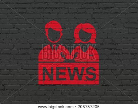 News concept: Painted red Anchorman icon on Black Brick wall background