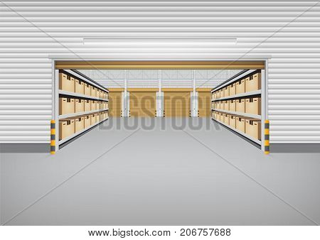 Vector of factory building or warehouse building with concrete floor for industry background.