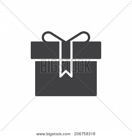 Present gift box icon vector, filled flat sign, solid pictogram isolated on white. Symbol, logo illustration.
